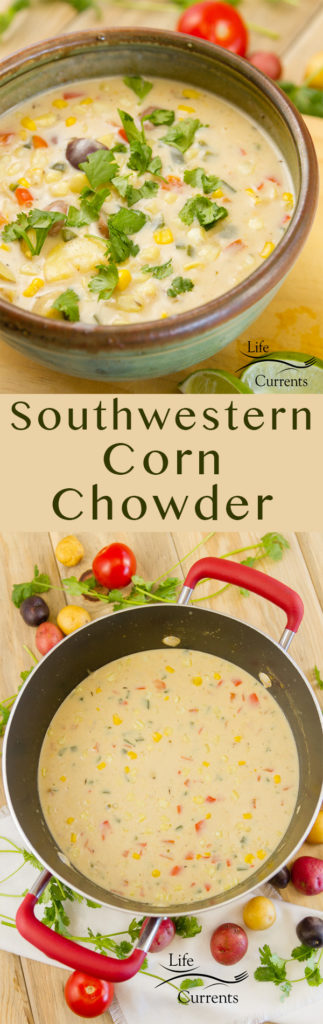 Southwestern Corn Chowder long pin for pinterest with two images and a title