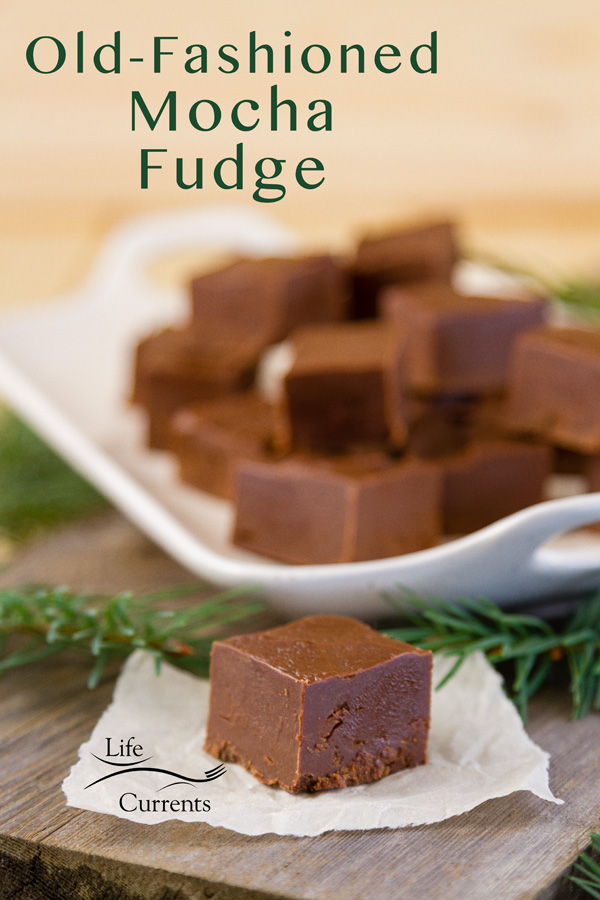A piece of fudge on a piece of paper in front of a tray full of fudge