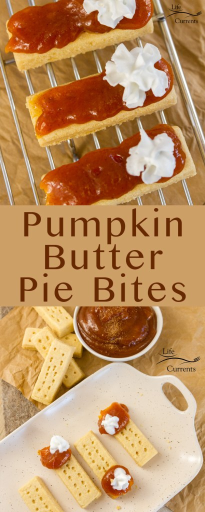 Two images for Pumpkin Butter Pie Bites with a title for Pinterest