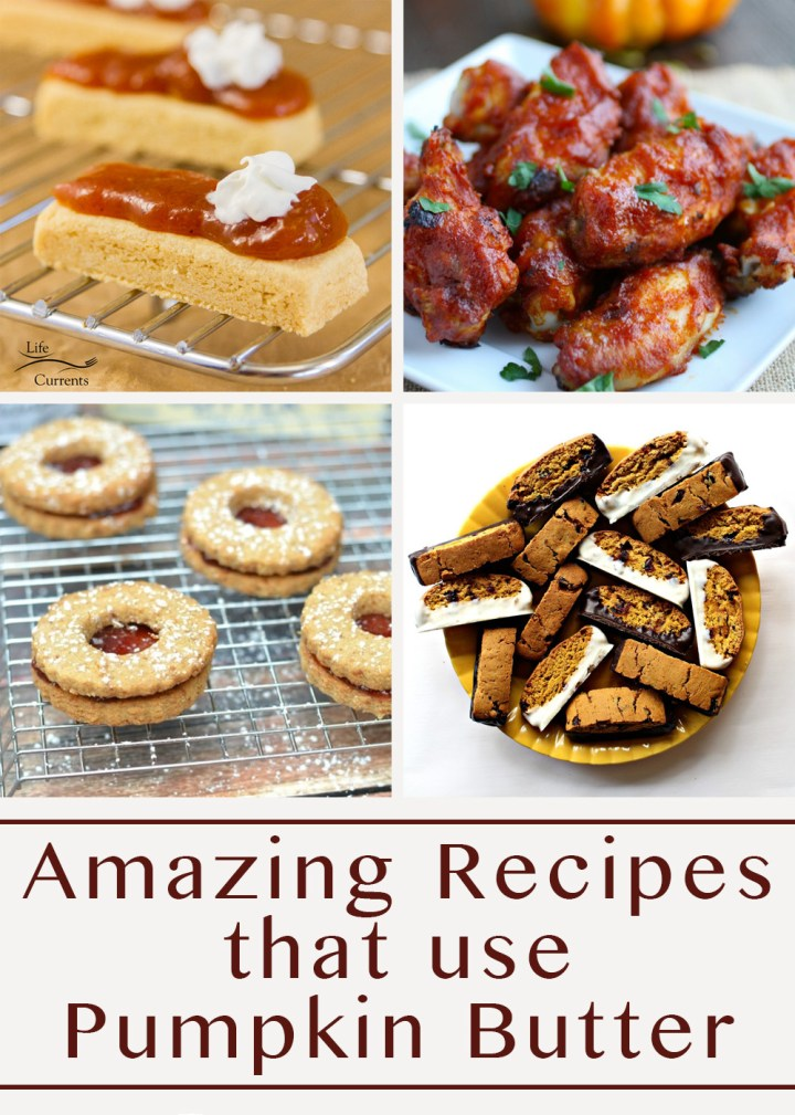 collage of 4 images for recipes that use pumpkin butter