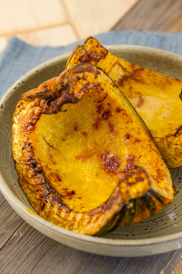 roasted squash pieces in a bowl