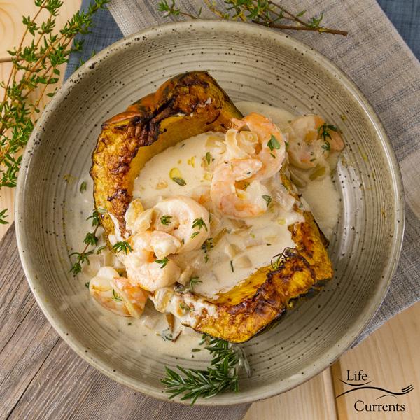 square crop of Garlic Parmesan Cream Shrimp over Roasted Squash recipe