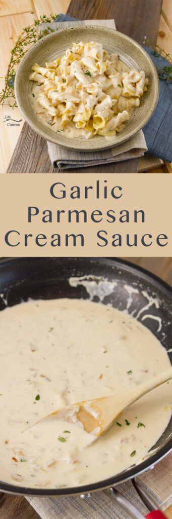 Long pin for pinterest with two images of garlic parmesan cream sauce