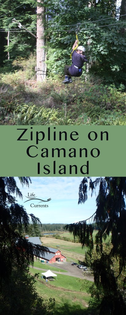Zipline on Camano Island long pin for pinterest with two images