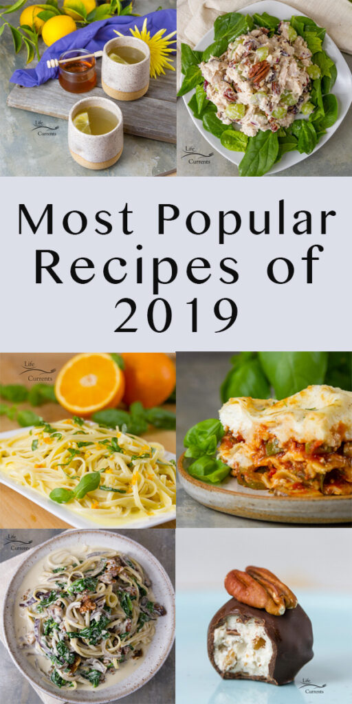 Long pin collage with title: Most Popular Recipes of 2019: the year in review.