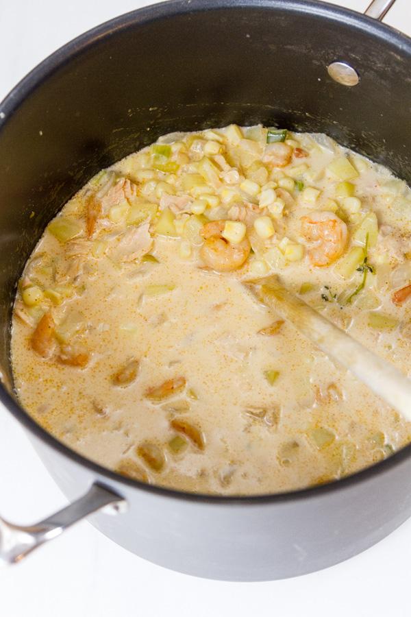 Cajun seafood chowder still in the pot