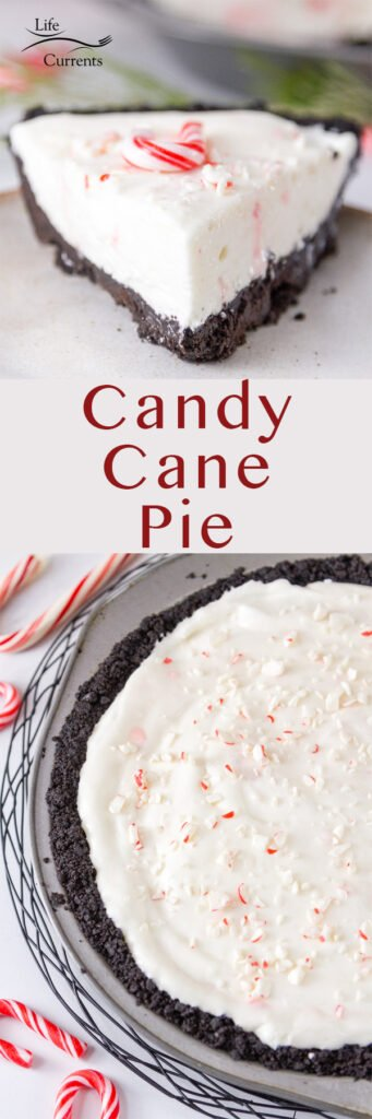 Candy CAne Pie long pin for Pinterest with two images and a title