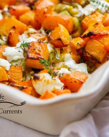 Butternut Squash Gratin Casserole square crop in a casserole dish
