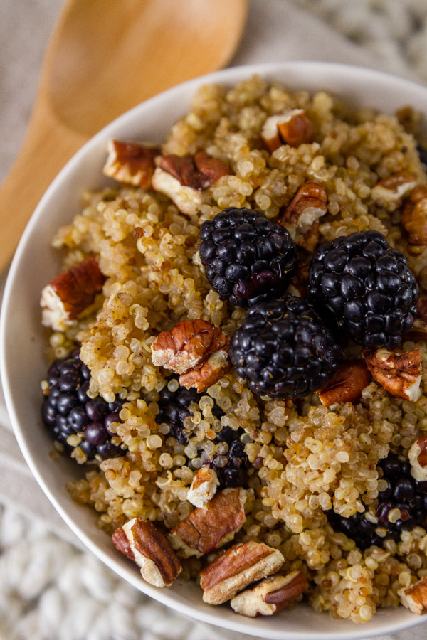 close up top down of Breakfast Quinoa Bowl with Blackberries