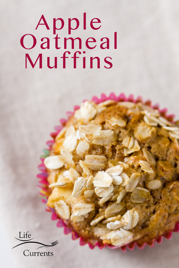 close up of an apple oatmeal muffin with title