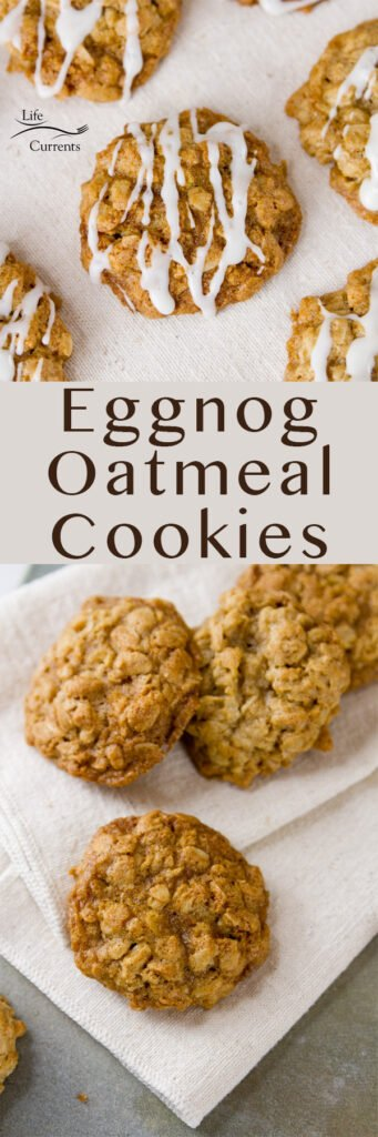 two images of eggnog oatmeal cookies in a long pin for pinterest
