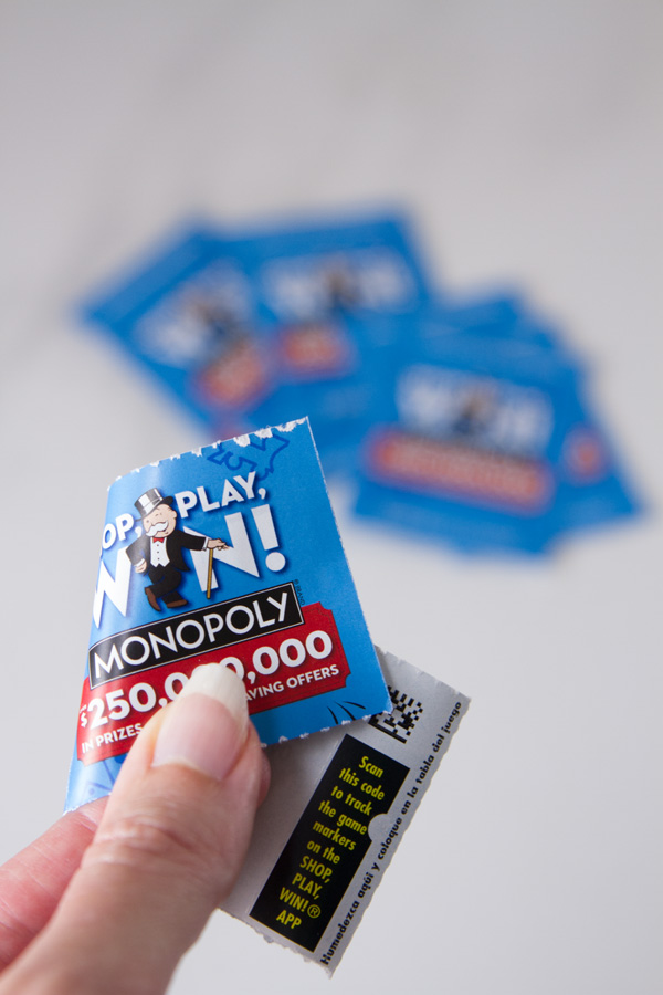 game piece showing the 2-D or QR code for How to play and win Safeway Monopoly Shop Play Win
