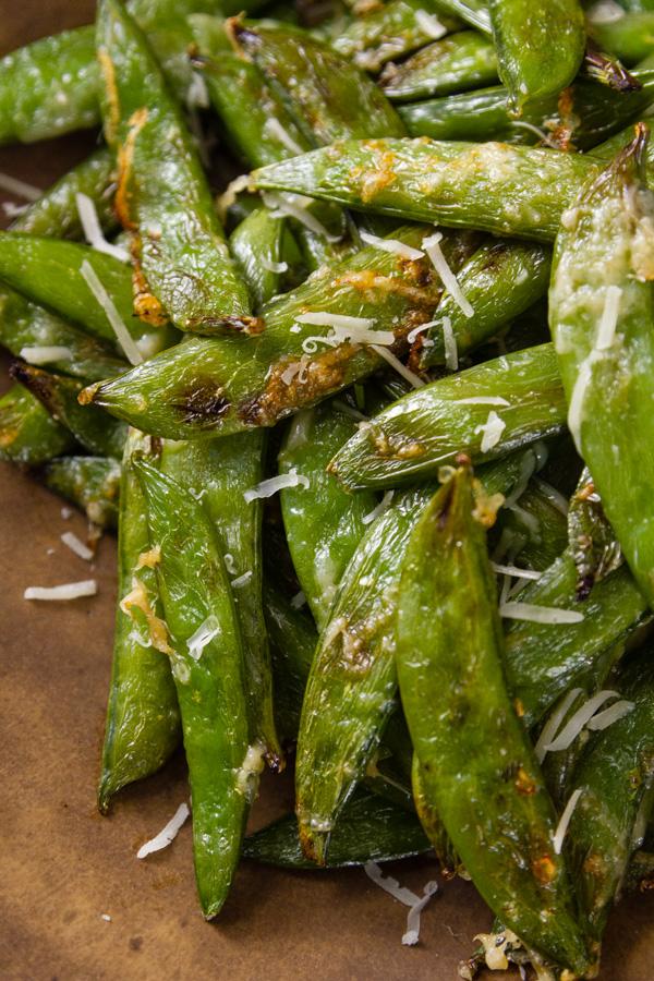 close up of Air Fryer Parmesan Sugar Snap Peas