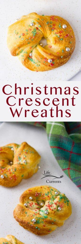 Long pin for Pinterest Christmas Crescent Wreaths Recipe