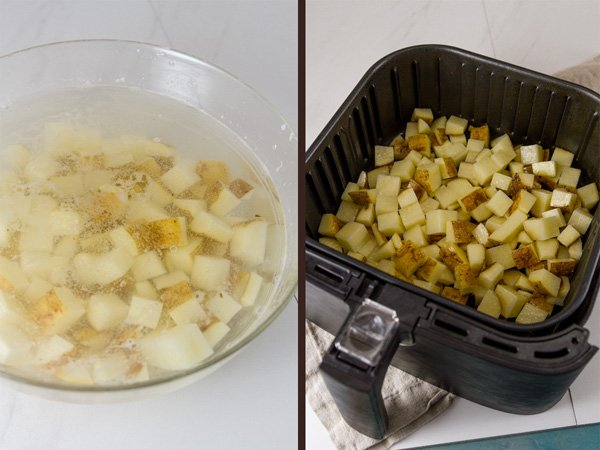 process shots of Air Fryer Potatoes: soaking the potatoes in water on the left and potatoes in the air fryer basket on the right