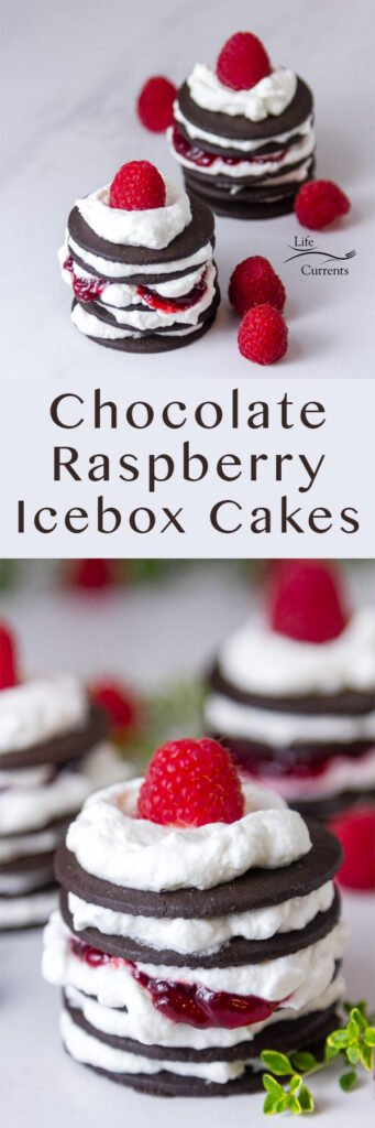 two images of Chocolate Raspberry Icebox Cakes in a long pin for Pinterest