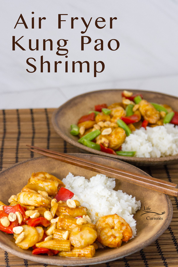 Air Fryer Kung Pao Shrimp served in two bowls with rice, chopsticks in the picture, with title