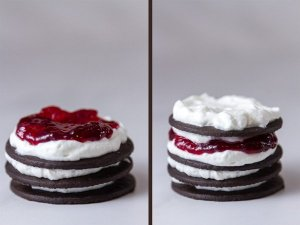 Chocolate Raspberry Icebox Cakes prosess shots, middle shots