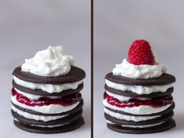 Chocolate Raspberry Icebox Cakes: process shots, ending shots