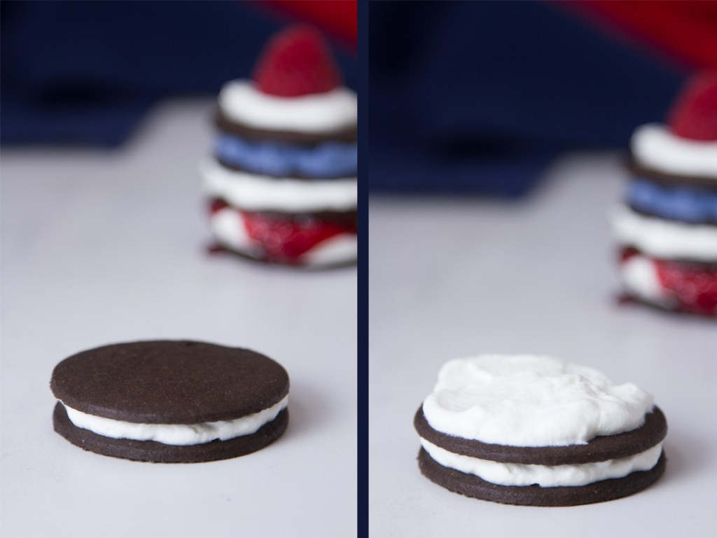 Patriotic Icebox Cakes process shots - stacking cookies and whipped cream with a finished cake in the background of each picture