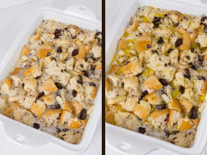 Chocolate Bread Pudding with Bourbon Butter Sauce: process shots. Left: all mixed together and in the baking dish. Right: drizzled butter on top