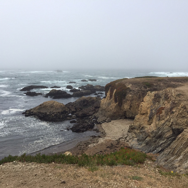 Looking out onto Glass Beach, Fort Bragg at one of the coves down the cliffs, low tide when tide is going out