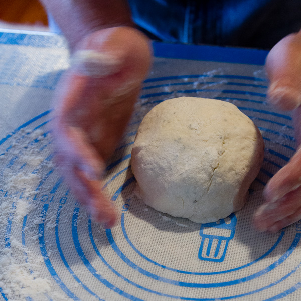 a nice round dough ball for making bread. Rolled out with my hands on a pastry mat