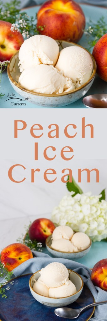 two images of Peach ice cream in a long pin for Pinterest with the title in the middle