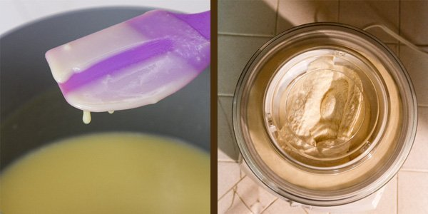 how to make peach ice cream: process shots. On the left, testing the custard for thickness. On the right: the ice cream being churned in the machine
