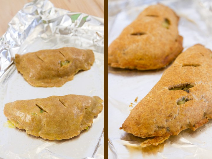process shots for Veggie Turnovers. Two images. Left: two turnovers, raw, on a foil lined baking sheet. Right: after the turnovers have been baked on a foil lined sheet
