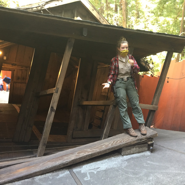 The Mystery Spot in Santa Cruz is agravitational anomaly , here the tour guide is showing us demonstrations that appear to defy gravity.