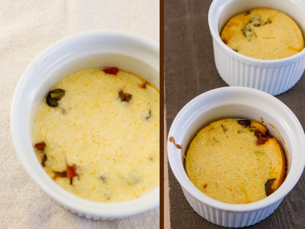 cornbread topping proess shot. Left: raw batter on top of chili in the ramekin. Right: baked cornbread topping without cheese topping