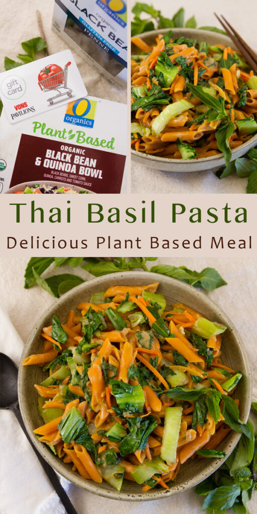 Long pin for Pinterest of Thai Basil Pasta with a collage of three images and the title