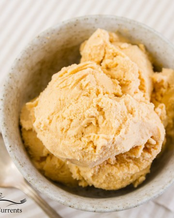 Square crop of Pumpkin ice cream in a light bowl with a spoon