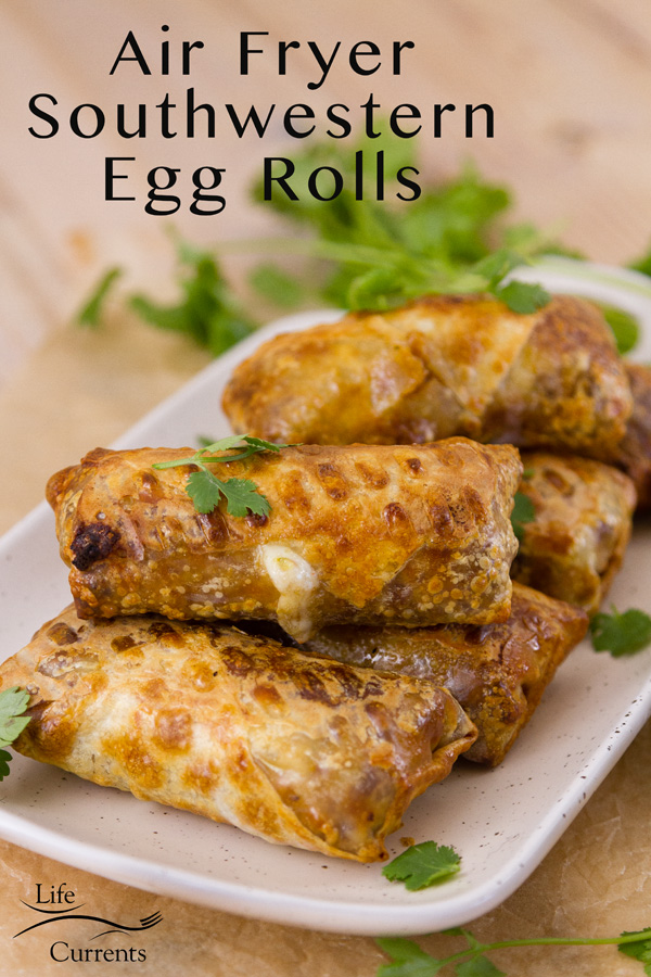 Air Fryer Southwestern Egg Rolls on a plate garnished with fresh cilantro. Title at top