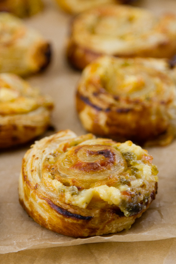 several puff pastry pinwheels cooling and reacdy to eat