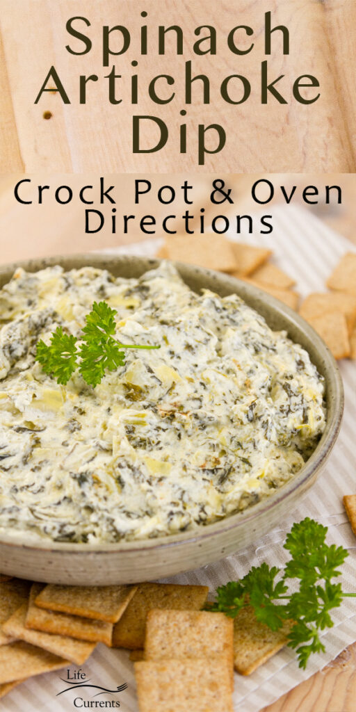 title on upper part: Spinach Artichoke Dip. Dip in a large bowl with crackers