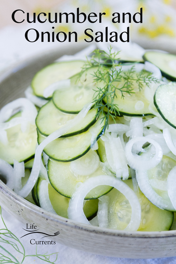 Cucumber and Onion Salad in a bowl with title