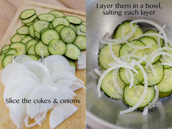 process shots for Cukes & Onion Salad