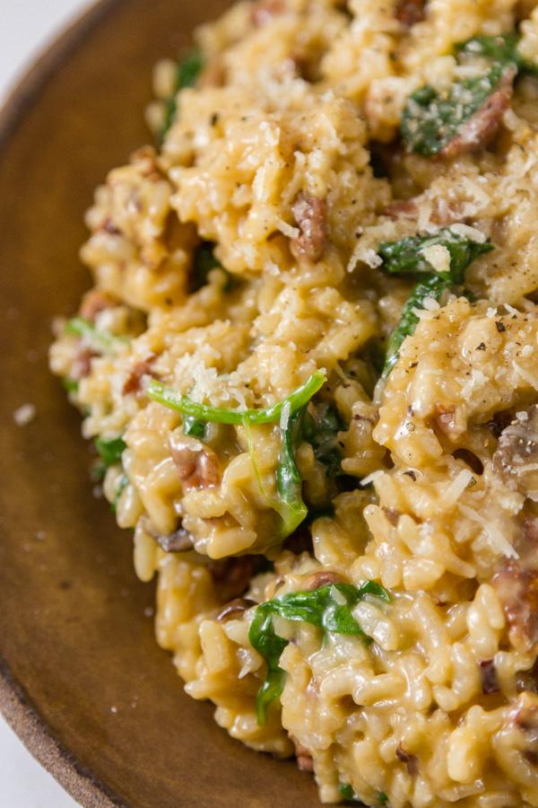 close up shot of mushrrom risotto
