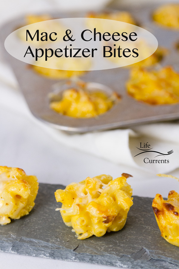 Mac & Cheese Appetizer Bites on a serving board, and some in the background still in the muffin tray. Title on image