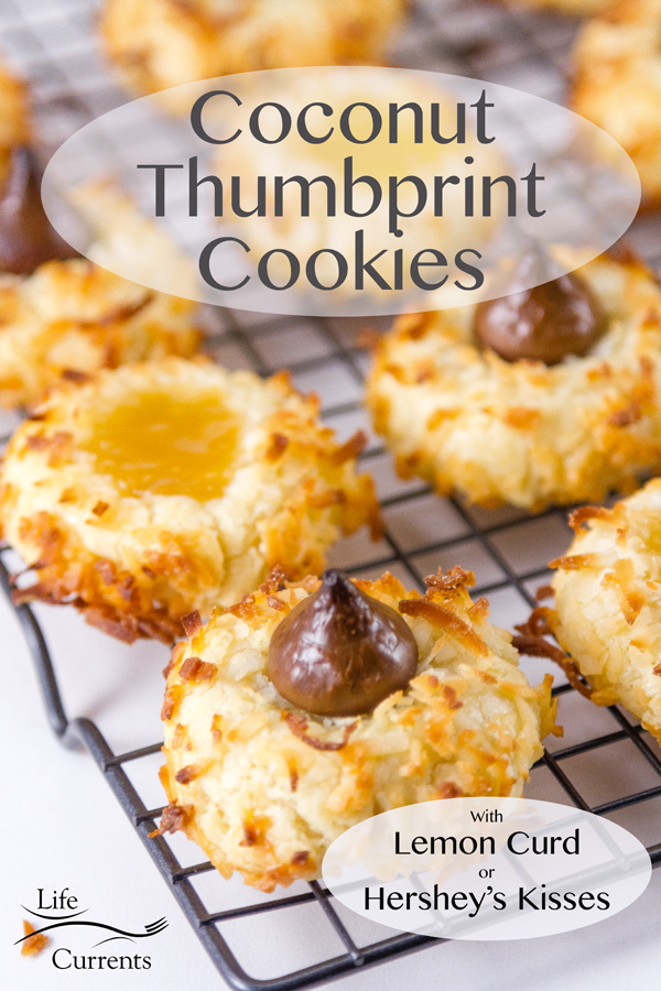 Coconut Thumbprint Cookies with lemon curd or Hershey's kisses on a wire rack. Title on image
