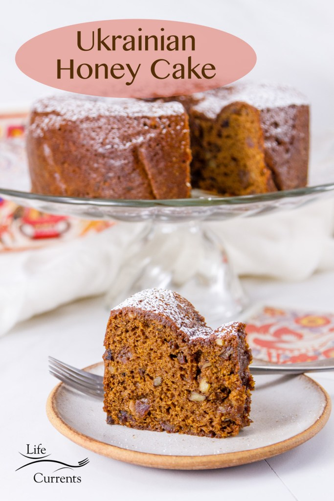 title on image: Ukrainian Honey Cake (Medivnyk) with the cake on a pedestal and a slice on a plate below