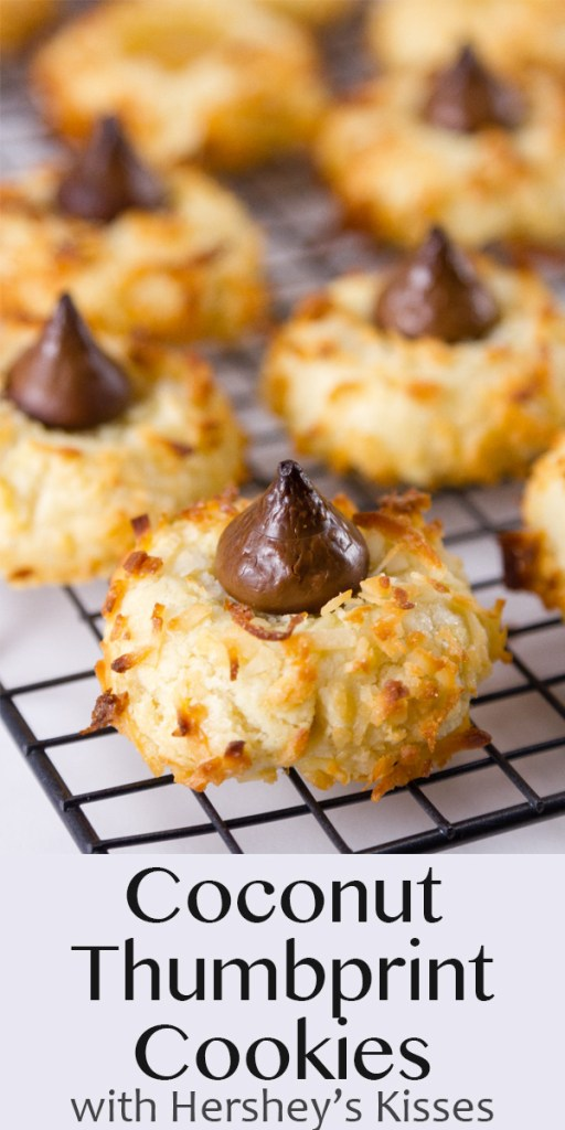 Hershey's Kisses filled Coconut Thumbprint Cookies on a cooling rack with title