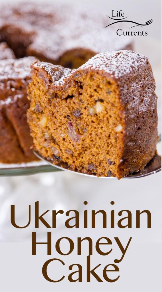Ukrainian Honey Cake being served on a cake server