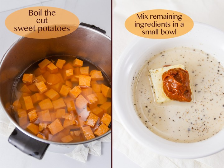 process shots for how to make sweet potatoes