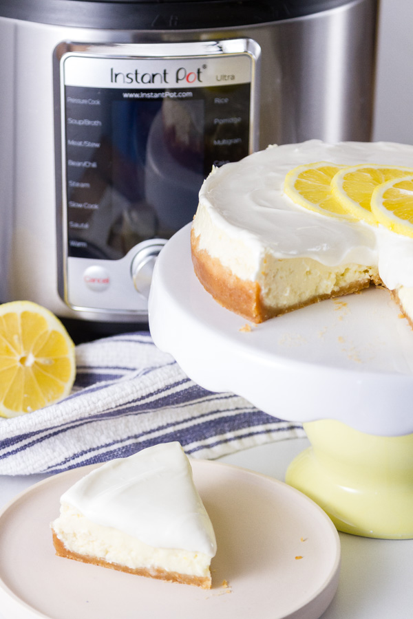cheesecake in front of an instant pot