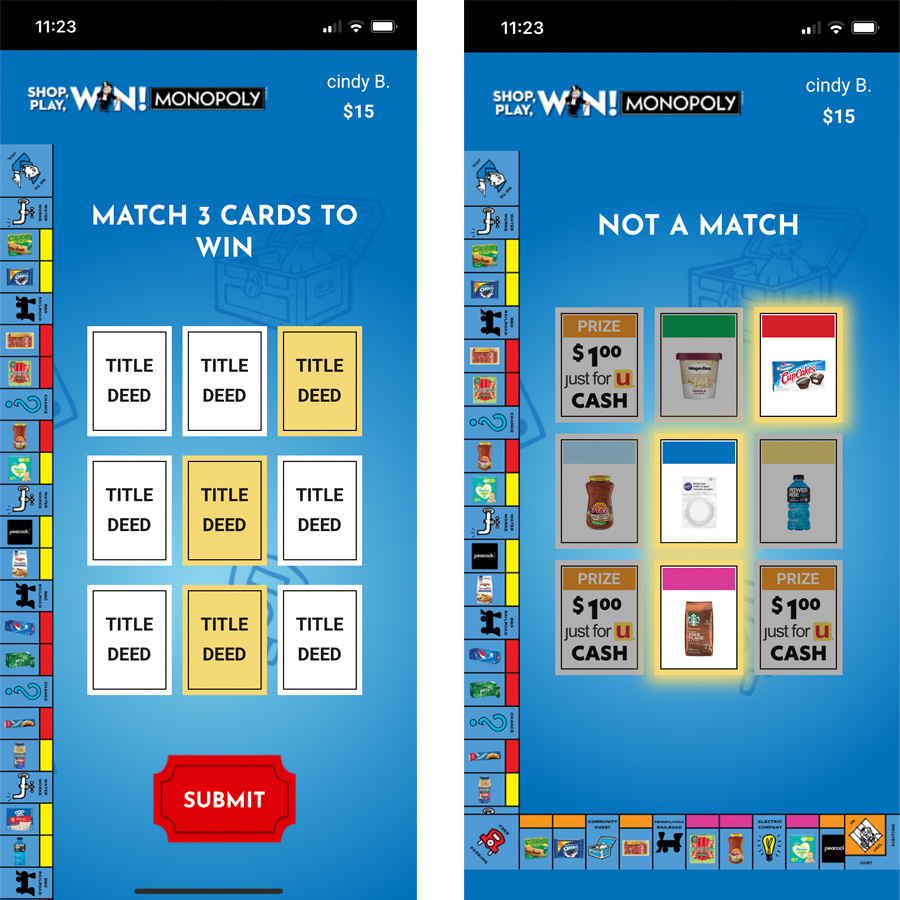 two screenshots of Vons MONOPOLY SHOP, PLAY, WIN!® app and the Match 3 game