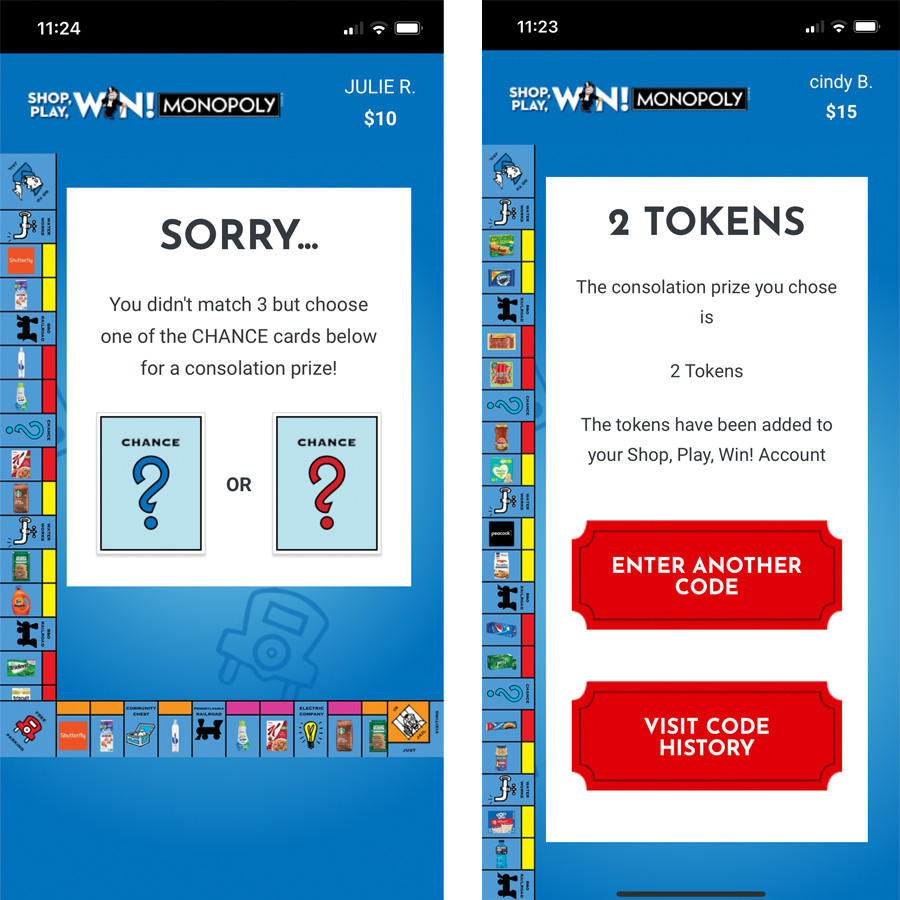 two screenshots of the vons monopoly game