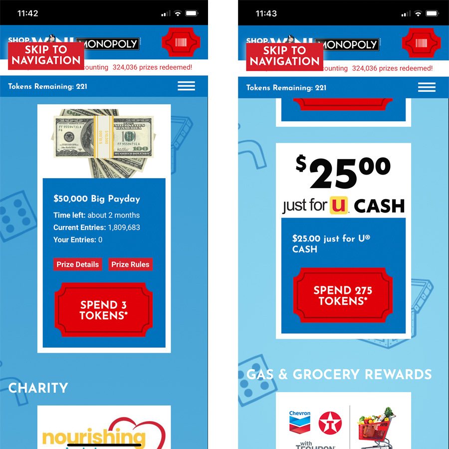two screenshots of vons monopoly redeeming tokens